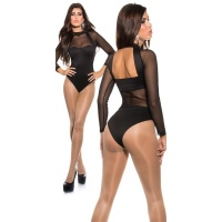 SEXY BACKLESS BODYSHIRT TRANSPARENT WITH CHIFFON BLACK Onesize (UK 8,10,12)