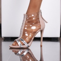 SEXY SANDALS HIGH HEELS WITH TRANSPARENT STRAPS BEIGE