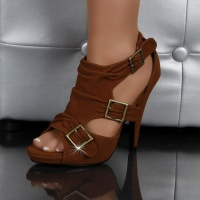 SEXY SANDALS HIGH HEELS SHOES CAMEL