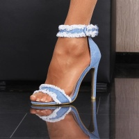 SEXY SANDALS HIGH HEELS STILETTOS MADE OF JEANS FABRIC BLUE