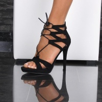 SEXY SANDALS PLATFORM HIGH HEELS SHOES MADE OF VELOUR BLACK UK 4