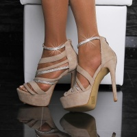 SEXY VELOUR SANDALS PLATFORM HIGH HEELS SHOES WITH RHINESTONES KHAKI