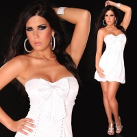 SEXY SATIN BALLOON DRESS BANDEAU DRESS RHINESTONES WHITE