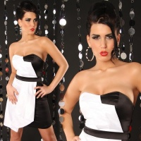 SEXY SATIN BANDEAU DRESS WHITE / BLACK UK 12