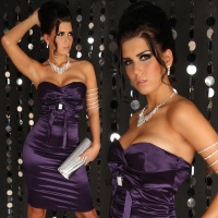 SEXY SATIN BANDEAU DRESS PURPLE UK 10