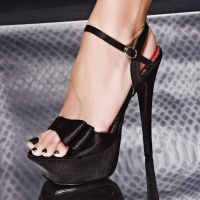 SEXY SATIN PLATFORM SHOES HIGH HEELS BLACK UK 5