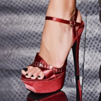 SEXY SATIN PLATFORM-SHOES HIGH HEELS RHINESTONES RED