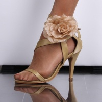 SEXY SATIN SANDALS EVENING SHOES HIGH HEELS WITH BLOOMS CHAMPAGNE