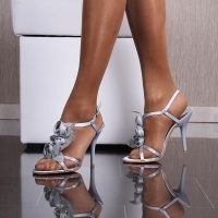 SEXY SATIN SANDALS EVENING SHOES HIGH HEELS WITH BLOOMS SILVER
