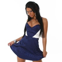 SEXY SATIN MINIDRESS BLUE/CREAM