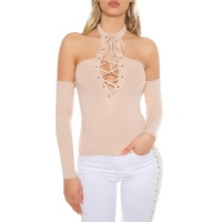 SEXY OFF-THE-SHOULDER HALTERNECK SHIRT WITH LACING BEIGE