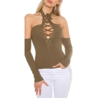 SEXY OFF-THE-SHOULDER HALTERNECK SHIRT WITH LACING KHAKI
