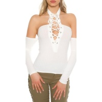 SEXY OFF-THE-SHOULDER HALTERNECK SHIRT WITH LACING WHITE