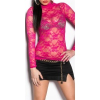 SEXY SHIRT MADE OF LACE FUCHSIA