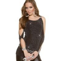 SEXY SHIRT WITH OPEN SLEEVES AND RHINESTONE LOOK BLACK/SILVER