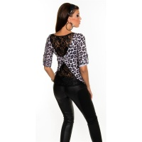 SEXY SHIRT WITH LACE AT THE BACK LEOPARD-LOOK LEO-WHITE