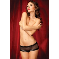 SEXY SHOWGIRL SHORTY BOYSHORTS WITH SEQUINS LINGERIE BLACK UK 10 (S)
