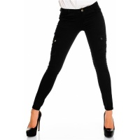 SEXY SKINNY DRAINPIPE JEANS PANTS CARGO-LOOK BLACK UK 14 (L)