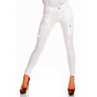 SEXY SKINNY DRAINPIPE JEANS PANTS CARGO-LOOK WHITE UK 10 (S)