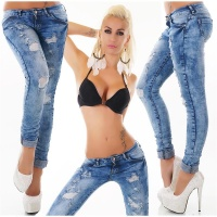 SEXY SKINNY DAMEN RÖHRENJEANS IN DESTROYED-LOOK DUNKELBLAU