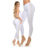 SEXY SKINNY LADIES DRAINPIPE JEANS WITH LATERAL LACING WHITE