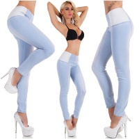 SEXY SKINNY HIGH-WAISTED DRAINPIPE JEANS BLEACHED BLUE UK 12