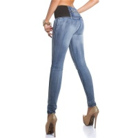 SEXY SKINNY HIGH-WAISTED DRAINPIPE JEANS WITHOUT POCKETS  DARK BLUE