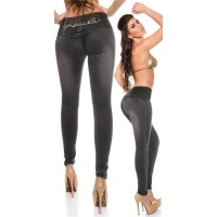 SEXY SKINNY HIGH-WAISTED DRAINPIPE JEANS WITHOUT POCKETS BLACK UK 16 (XL)