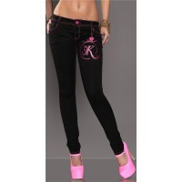 SEXY SKINNY JEANS DRAINPIPE JEANS WITH GLITTER-PRINT BLACK/FUCHSIA UK 10 (S)