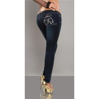 SEXY SKINNY JEANS DRAINPIPE JEANS WITH BELT DARK BLUE UK 12
