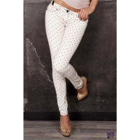 SEXY SKINNY JEANS DRAINPIPE JEANS WITH POLKA DOTS BEIGE/BLACK