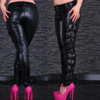 SEXY SKINNY DRAINPIPE PANTS IMITATION LEATHER WITH CUT-OUTS BLACK UK 10 (S)