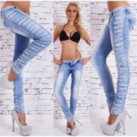 SEXY SKINNY DRAINPIPE JEANS IN DESTROYED LOOK WITH LACE BLUE UK 10 (S)