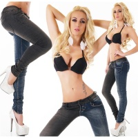 SEXY SKINNY DRAINPIPE JEANS IN DOUBLE-LOOK DARK BLUE/BLACK