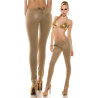 SEXY SKINNY TREGGINGS PANTS IN LEATHER-LOOK WITH LACING CHAMPAGNE