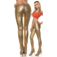 SEXY SKINNY TREGGINGS PANTS IN LEATHER-LOOK WITH LACING GOLD UK 10 (S)
