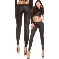 SEXY SKINNY TREGGINGS PANTS IN LEATHER-LOOK WITH LACING BLACK