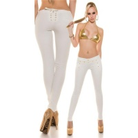 SEXY SKINNY TREGGINGS PANTS IN LEATHER-LOOK WITH LACING WHITE