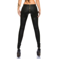 SEXY SKINNY TREGGINGS PANTS IN LEATHER-LOOK WITH ZIPPER BLACK UK 12 (M)