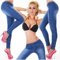 SEXY SKINNY USED-LOOK DRAINPIPE JEANS WITH ZIPPER AT THE REAR DARK BLUE