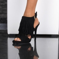 SEXY FRINGED SLING PEEP TOES HIGH HEELS SANDALS BLACK UK 5
