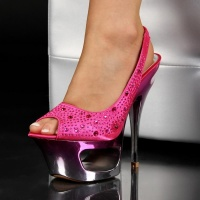 SEXY SLING-PEEP-TOES PLATEAU-SCHUHE HIGH HEELS GOGO PINK EUR 38