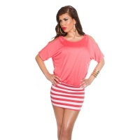 SEXY SUMMER MINIDRESS WITH STRIPES AND OPEN SLEEVES CORAL