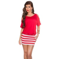 SEXY SUMMER MINIDRESS WITH STRIPES AND OPEN SLEEVES RED
