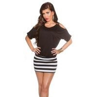 SEXY SUMMER MINIDRESS WITH STRIPES AND OPEN SLEEVES BLACK