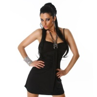 SEXY MINIDRESS WITH CHAIN RHINESTONES BLACK UK 12