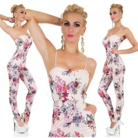 SEXY STRAPPY OVERALL JUMPSUIT WITH FLOWERS PINK Onesize (UK 8,10,12)