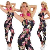 SEXY STRAP OVERALL JUMPSUIT WITH FLOWERS BLACK Onesize (UK 8,10,12)