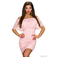SEXY LACE MINIDRESS IN LATINA-STYLE WITH FLOUNCES PINK Onesize (UK 8,10,12)