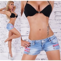 SEXY STONE WASHED JEANS HOTPANTS MIT ZIER-ZIPPERN BLAU